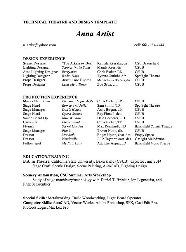 Technical Theatre And Design Resume Template Sample Acting In 2020 Acting Resume Template Resume Template Resume Design Template
