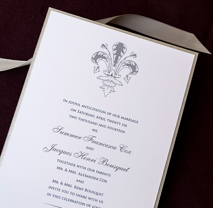 Ornate Fleur De Lis Wedding Invitations In Silver From Wine Country  Occasions