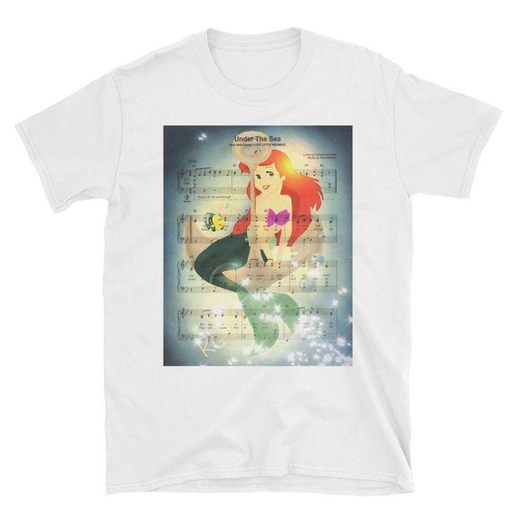 Arial Little Mermaid Music Score Illustration Short-Sleeve Unisex T-Shirt
