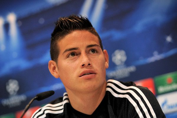 James Rodriguez Photos Photos - James Rodriguez of Real Madrid during a press conference after the team training session ahead of the UEFA Champions League Semi Final, Second Leg against Juventus at Valdebebas training ground on May 12, 2015 in Madrid, Spain. - Real Madrid Training and Press Conference