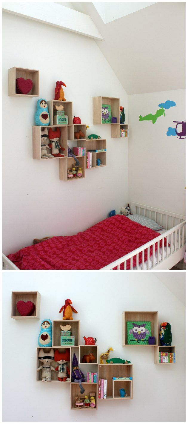 bogkasser på børneværelse - en løsning til lige omkring 375.- Se mere her på bloggen: http://www.tinadalboge.dk/boligindretning/ide-til-bogkasser-pa-vaeggen