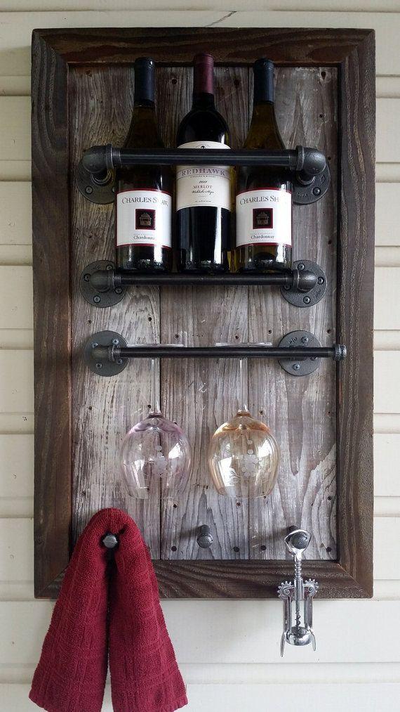 Wine Rack Reclaimed Wood barn wood di HammerHeadCreations su Etsy