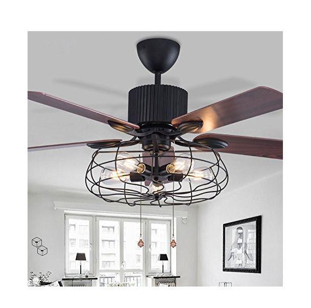 Industrial 52 Ceiling Fan Semi Flush Mount Ceiling Light Fixture With 5 Light Home Garden Lamp Living Room Ceiling Fan Ceiling Fan With Light Ceiling Fan Flush mount industrial ceiling fan