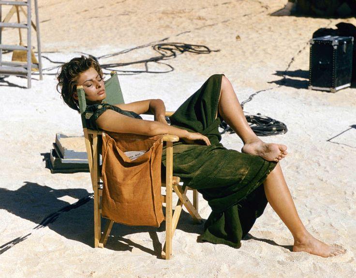 "concravatta: ""  Sophia Loren relaxes on the Libyan set of the desert adventure film 'Legend of the Lost', 1957 """