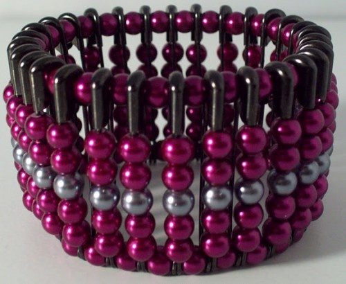 """chantal"" gunmetal safety pin cuff w/fuchsia & gray glass pearls"