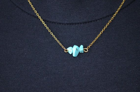 Turquoise Necklace Dainty Crystal Gold Chain Necklace Chakra Necklace Healing…