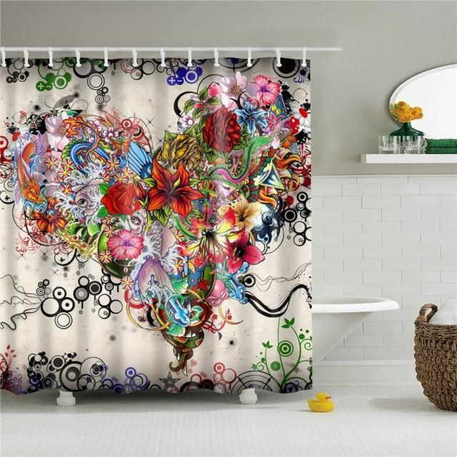 Tattoo Flowers Fabric Shower Curtain In 2020 Fabric Shower