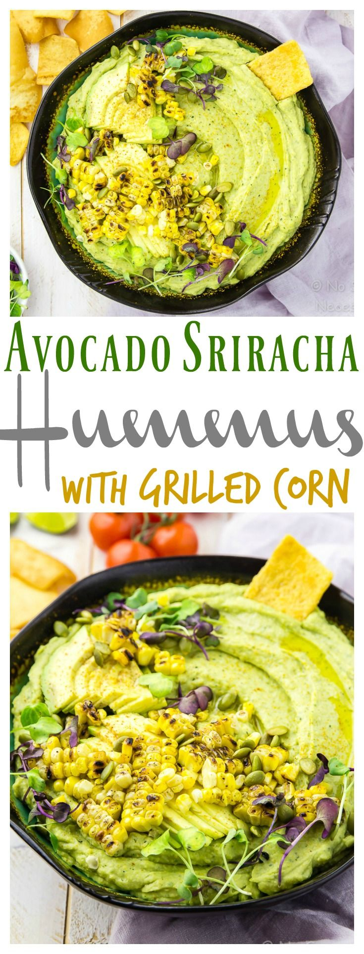 Avocado Sriracha Hummus with Grilled Corn. Silky smooth, creamy dreamy and deliciously healthy, this hummus is packed with flavor and makes the perfect summer snack or appetizer!