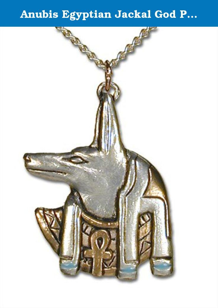 "Anubis Egyptian Jackal God Pendant Necklace. Anubis is the jackal-headed god of the underworld, he tests the worth of the dead by weighing their hearts against a feather on his scales. Worn for guidance on life's journey. Silver finish pewter, 1 1/4"" long. Comes with 18"" curb chain and jewelry box."