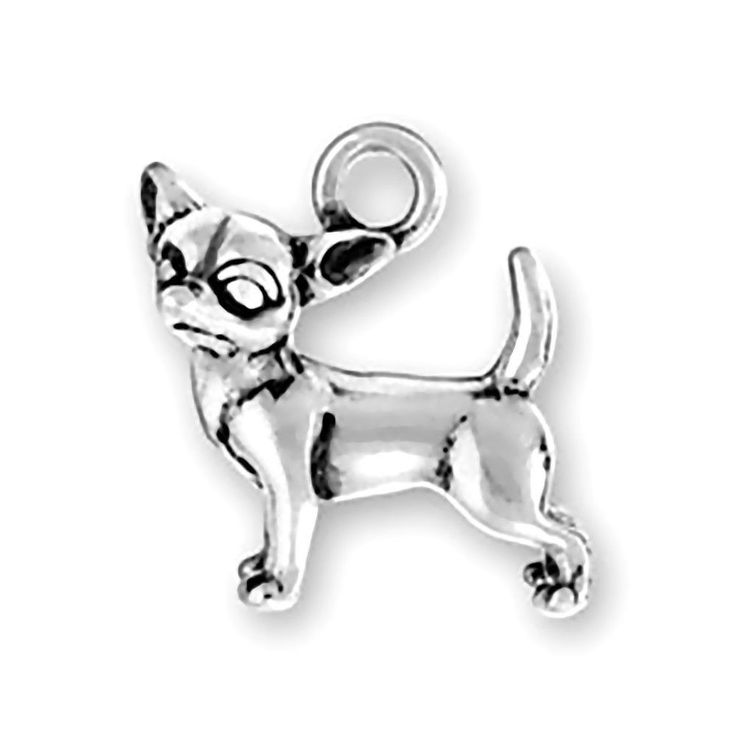 Chihuahua Charm Sterling Silver Pendant 3d Dog Head Turned Animal Pet
