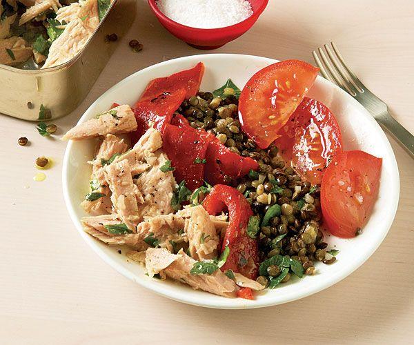 Linsen-, Thunfisch- und gerösteter Pfeffersalat   – Food Recipes 4
