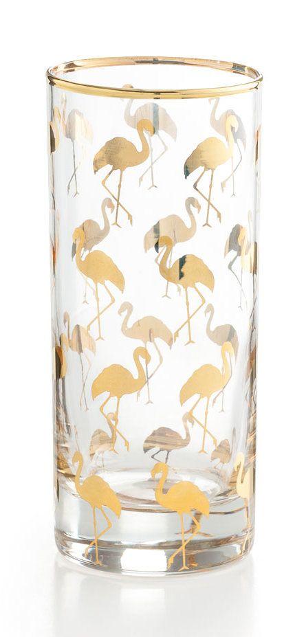 Patio Party 12 oz. Flamingo Highball Glass