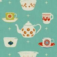 vintage dishes fabric pattern