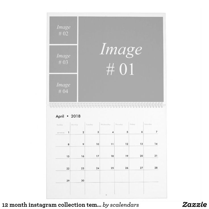 12 month instagram collection template calendar