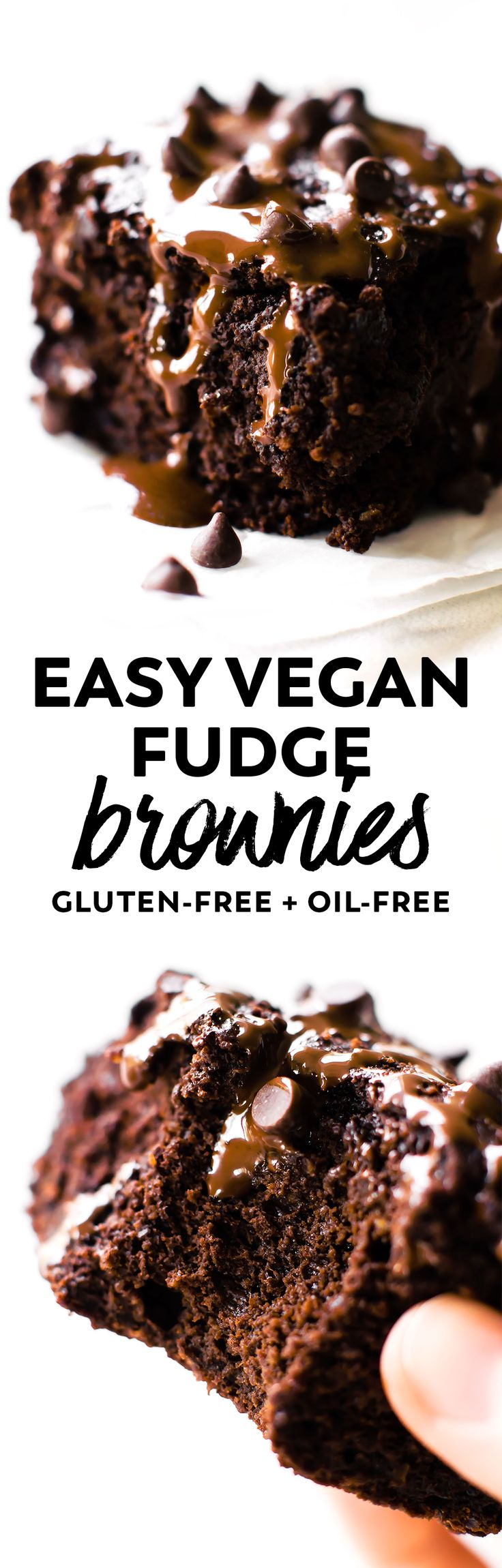 Ultra rich Vegan Fudge Brownies chock full of chocolate! Easily made in the blender. And healthier than most with applesauce, oat flour, and no added sugar. #vegan #glutenfree #chocolate via @Natalie | Feasting on Fruit