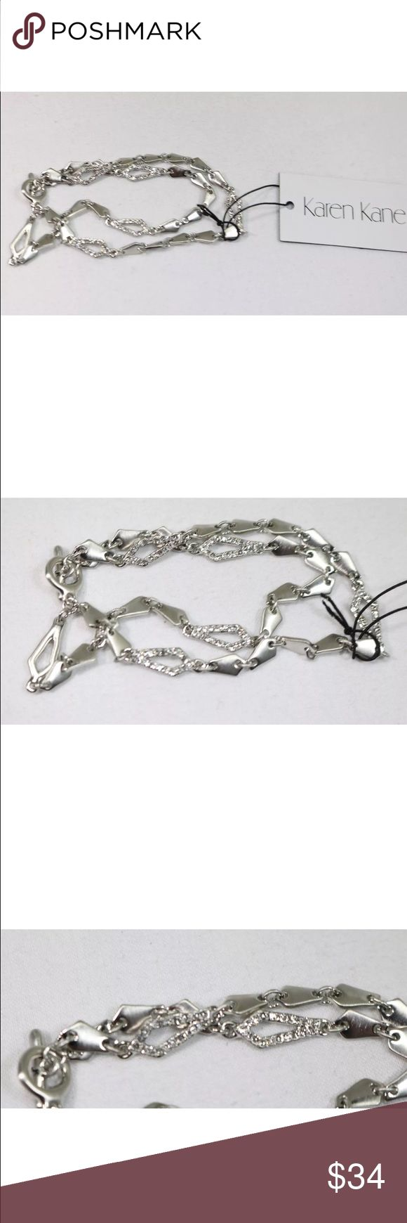 """Karen Kane link bracelet Karen Kane Silver Tone Clear Crystal Dual Strand Toggle Bracelet NEW. The item is new with tags.    It is about 8"""" long.  It retails for $68. Karen Kane Jewelry Bracelets"""