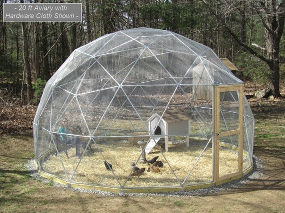 20 ft Geodesic Dome Outdoor Aviary Flight Cage by SunriseDomes, $2499.00  If I had the money this is just about the coolest think for chickens or even bunnies or...... kids? jk