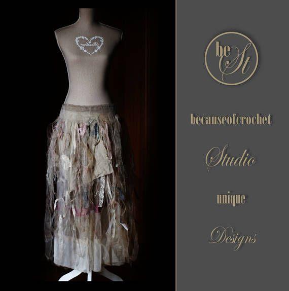 Art skirt unique design Handmade skirt Size S/M ivory tea