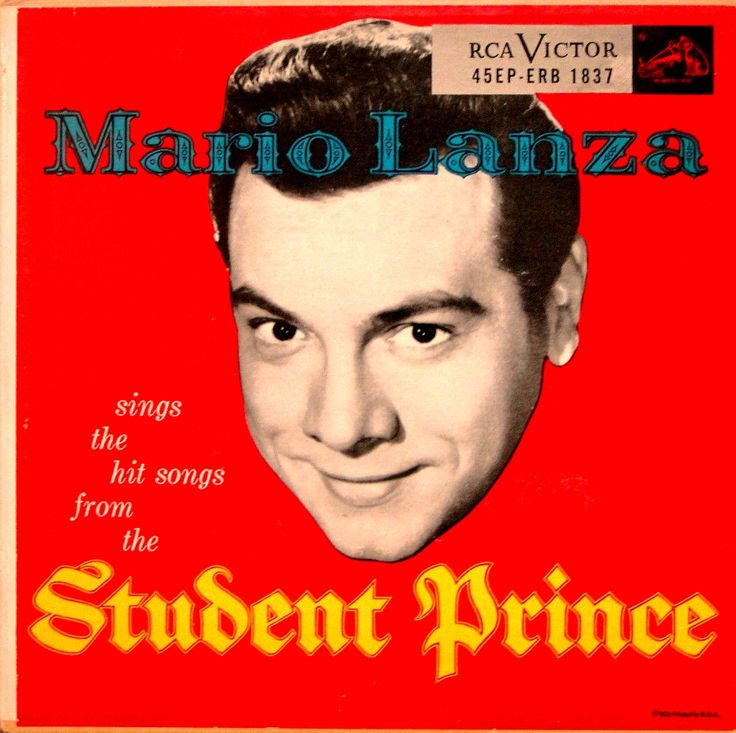 """Cover of EP """"Mario Lanza Sings the Hit Songs from the Student Prince"""" (RCA Victor, 1954)."""