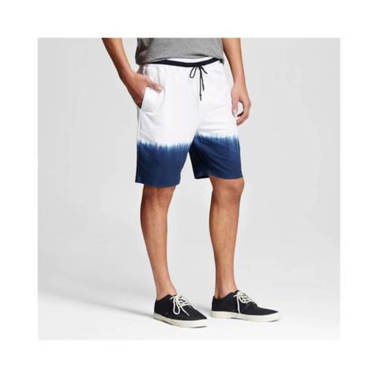 Men's Navy Dip Dye Shorts - White- Sz: XL