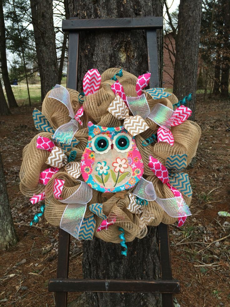 Spring owl wreath Facebook page Heart 2 Heart Wreaths and more