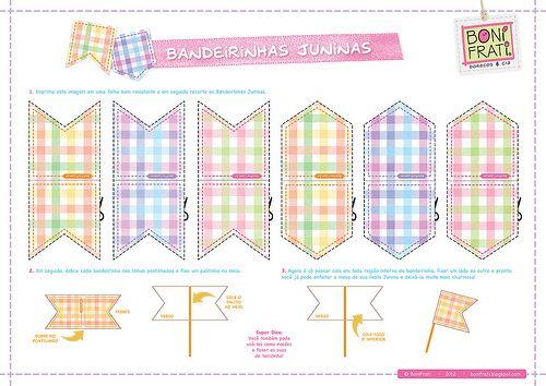 Bandeirinhas Juninas para imprimir (PAP com molde)