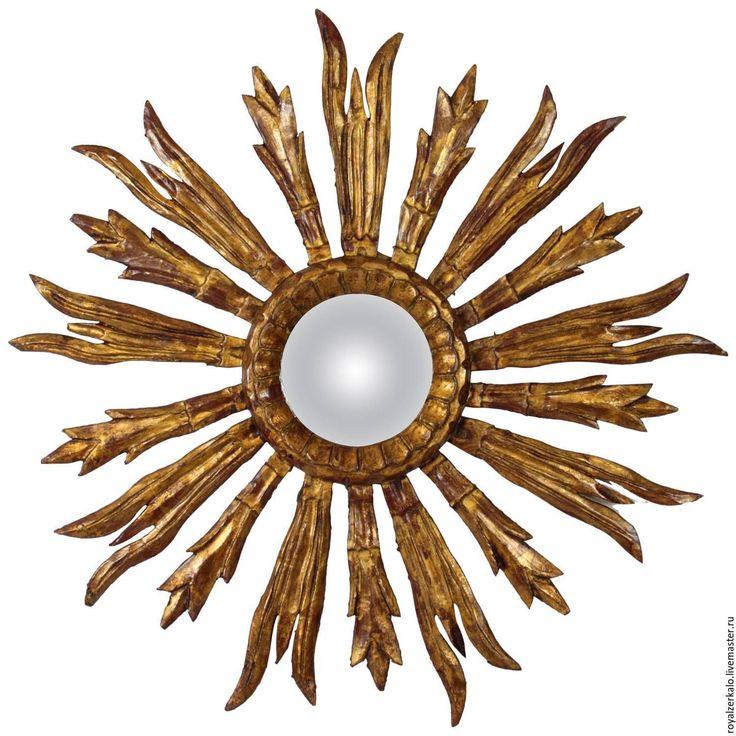 Купить Настенное зеркало солнце Лира - золотой, зеркало солнце, зеркало настенное