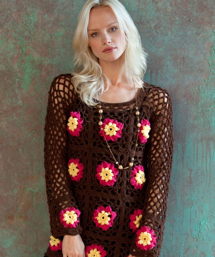Flower Child Tunic: free crochet pattern: Free Pattern, Flowers Children, Child Tunics, Child Crochet, Child Sweaters, Red Heart, Crochet Patterns, Crochet Tops, Child Tops