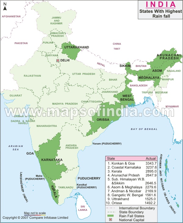 The places which receive the highest rainfall in India.