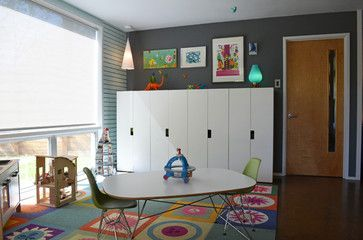 floor --  as colorful and open and light and fun and uncluttered as this, but using a farmhouse style --  modern kids by Sarah Greenman