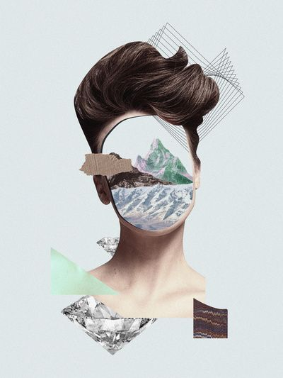 Another work from the series 'Haircut' by Erin Case. This work shows a different image in the background and uses the face as a frame.