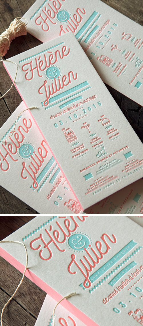 Faire-part de mariage corail et vert pastel, création creative-doing.com / letterpress wedding invite in coral and green