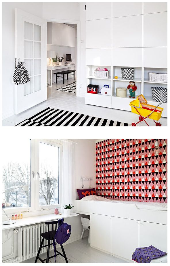 Love The Wall Storage For A Kids Bedroom