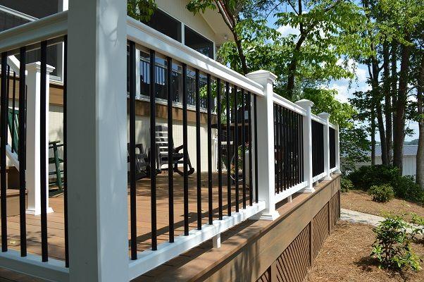 Fiberon Symmetry composite railing with black round metal ...