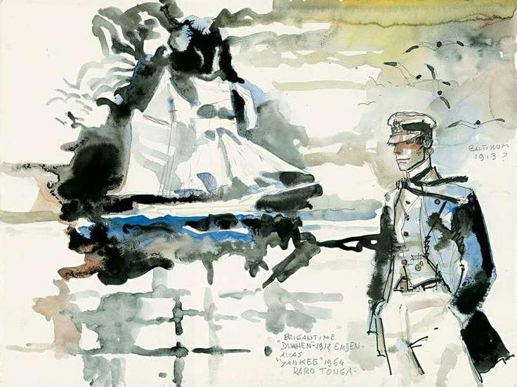 "The Venice of Corto Maltese.   Hugo Pratt, ""Corto Maltese"", aquarelle et encre de Chine, 1964"