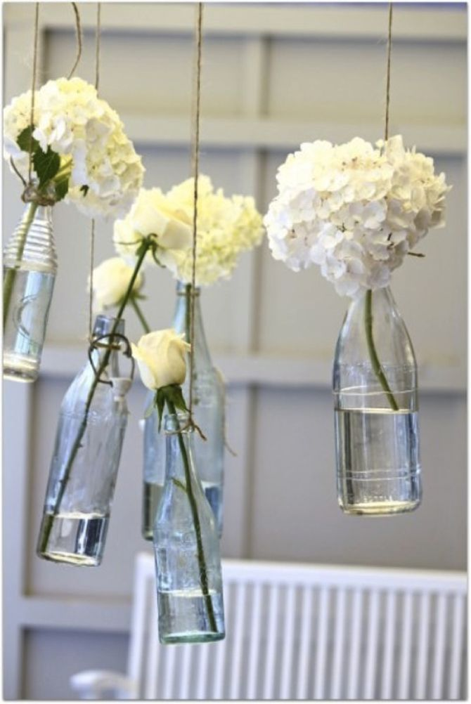 Decoração de casamento com vidros e garrafas: