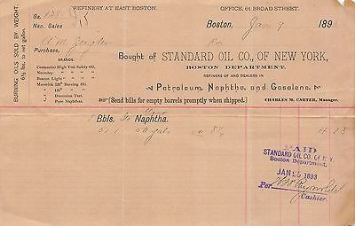 STANDARD OIL COMPANY EAST BOSTON REFINERY ANTIQUE GASOLINE SALES RECEIPT 1893