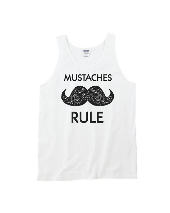 Staches rule white tank top large by coyotealert on Etsy, $18.00