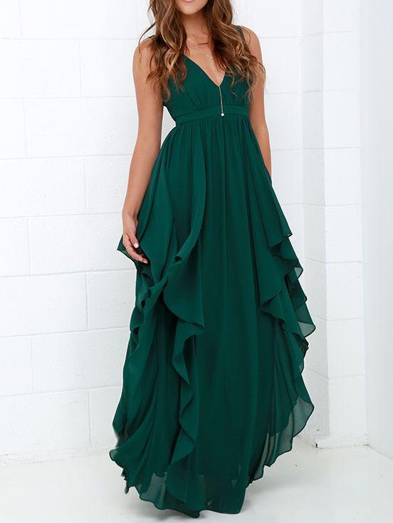 Vestido cuello V maxi gasa -verde 30.64
