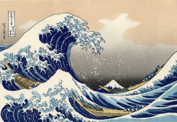 La grande vague de Kanagawa (1831) par Hokusaï. Estampe tirée des 36 vues du Mont Fuji.