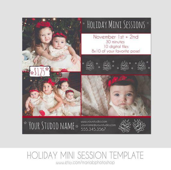 Vermarkten Sie Ihre Holiday-Porträt-Sitzungen mit dieser liebenswert Weihnachtsbaum geschmückte Tafel Vorlage! Diese Hand gestaltete marketing