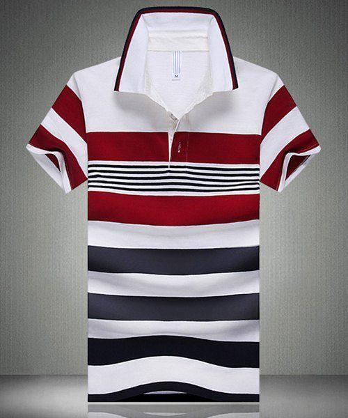 Color Block Spliced Design Stripe Turn-Down Collar Short Sleeve Polo T-Shirt For Men