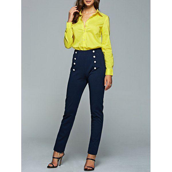 Wholesale Long Sleeve Shirt And High Waisted Pencil Pants Suit Xl Deep Blue Online. Cheap High Waisted Shorts And High Waisted Swimsuit on Rosewholesale.com