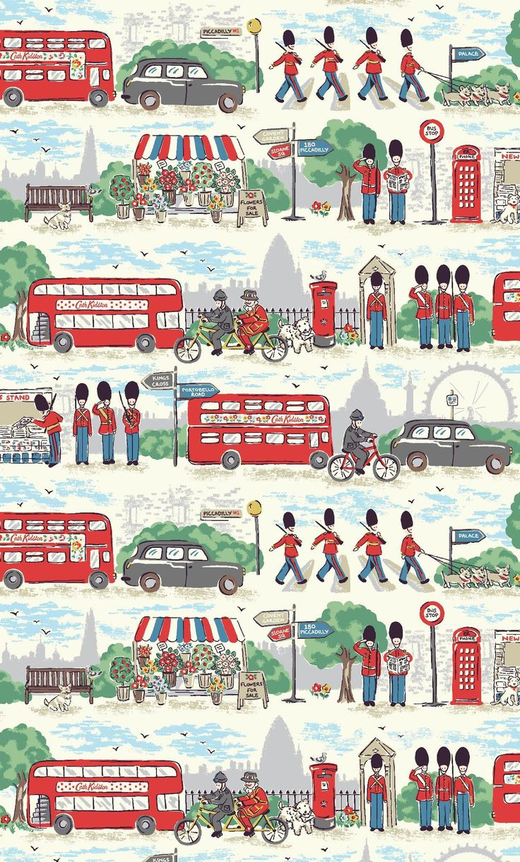London Streets | A fun, colourful tribute to our favourite city brimming with London icons - Guards, Beefeaters, buses, taxis and more - set against an unmistakably London landscape | Cath Kidston Autumn Winter 2016 |