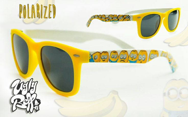 """These are """"Minions"""" Polarized Sunglasses in a high quality frame with matte yellow frontside. Custom painted by hand with great attention to detail using high quality paints. You dont have to worry about the colour protection because we seal it with extra strong varnish. Optical lenses can be put in the frame."""