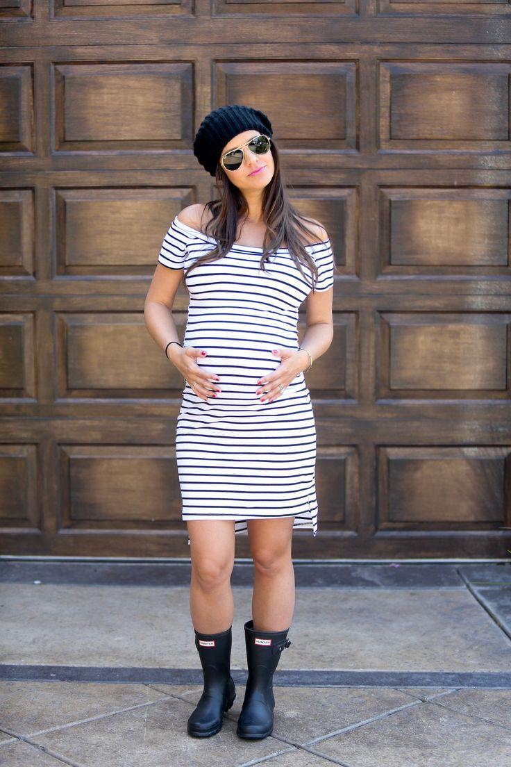 ON SALE - Striped Bardot Maternity Dress