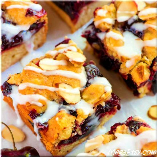 Layers of buttery shortbread, sweet cherry filling, crumb topping, and an almond glaze. Serve well as breakfast or snack.