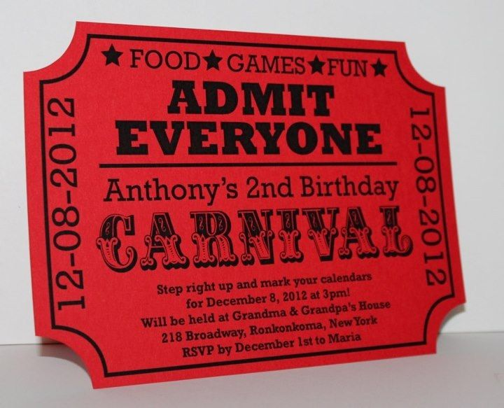 Carnival Birthday Ticket Invitation (SAMPLE) by DivoneDesign on Etsy https://www.etsy.com/listing/127120016/carnival-birthday-ticket-invitation