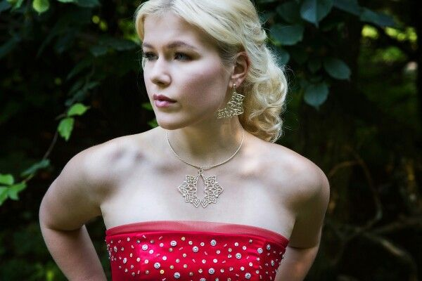 Hearts - pendant,  earrings.  Photography Nina Maaninka.  Dress Sinikka Nikander.  Model Belinda Nieminen.