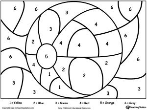 Color By Number: Beach Ball: Printable color by number coloring pages. Perfect for preschoolers to help them develop eye-hand coordination, practice their colors and learn to follow directions.